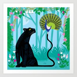 The Peacock and The Panther Art Print