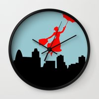 mary poppins Wall Clocks featuring Mary Poppins  by Sammycrafts