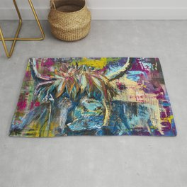 Highland Cow Bull Abstract Modern Rustic Painting Navy Blue Pink Decor Rug
