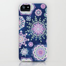 Folky SnowFlowers iPhone Case