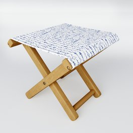 Ancient Japanese Calligraphy // Dark Blue Folding Stool
