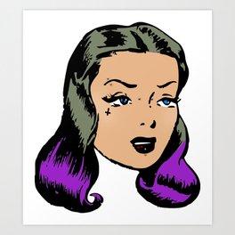 Purple Hair Pin-Up Art Print