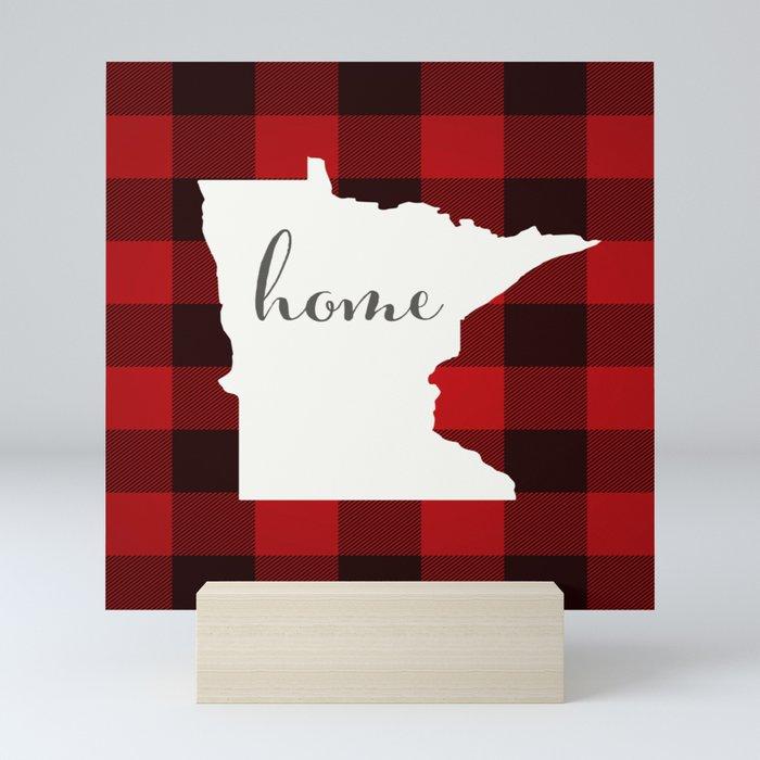 Minnesota is Home - Buffalo Check Plaid Mini Art Print
