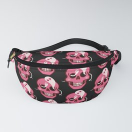 Cute Cartoon Skulls With Ghosts Pink Black Pattern Fanny Pack