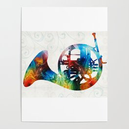 Colorful French Horn - Color Fusion By Sharon Cummings Poster
