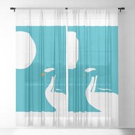 Swan graphic  Sheer Curtain