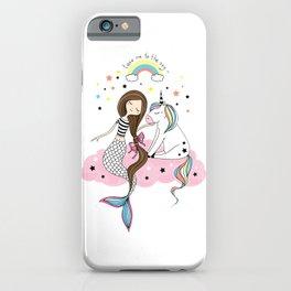 Mermaid & Unicorn White background iPhone Case