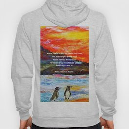 Inspirational Finding Your Love Quote With Penguins Painting Hoody