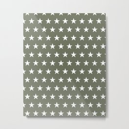White stars on olive green pattern Metal Print