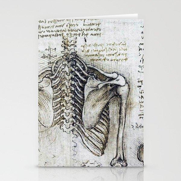 Leonardo Da Vinci Human Body Sketches Skeleton Stationery Cards By