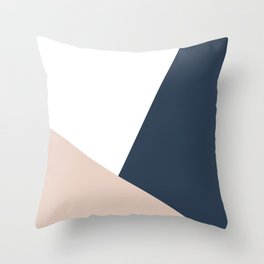 Navy and Cream Block Throw Pillow