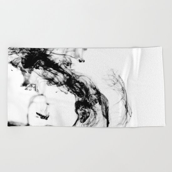 MONOCHROME MARBLE / INDIAN INK IN WATER Beach Towel
