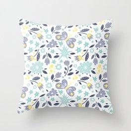 Flowers and butterflies pattern Throw Pillow