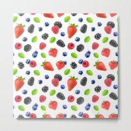 Fresh berries pattern Metal Print