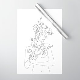 Minimal Line Art Woman with Wild Roses Wrapping Paper