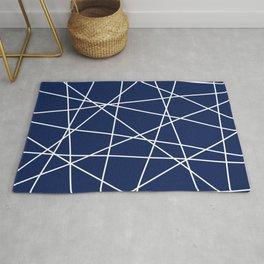 Geometric Lines (white/navy blue) Rug