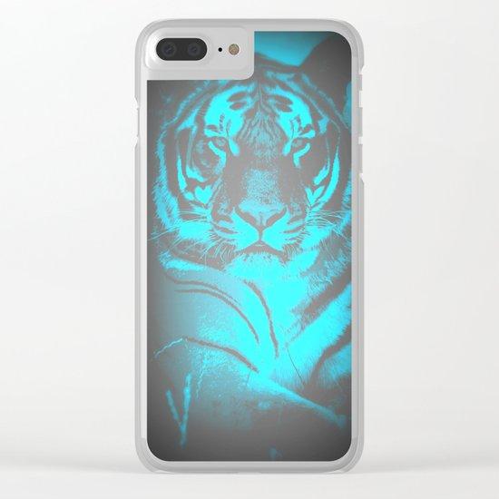 Aqua Gray Tiger Clear iPhone Case