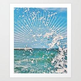 Sea spray - sunset graphic Art Print