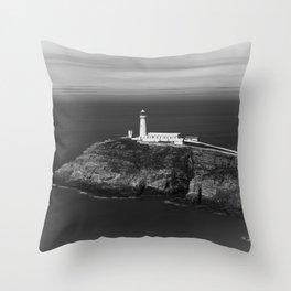 South Stack Lighthouse - Mono Throw Pillow
