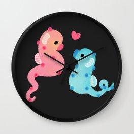 Pygmy seahorses - dark Wall Clock