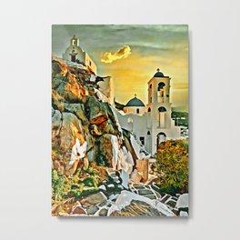 Mykonos at Golden Hours Digital Painting Metal Print