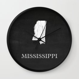 Mississippi State Map Chalk Drawing Wall Clock