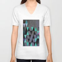 cracked V-neck T-shirts featuring Cracked Metal by Bakmann Art