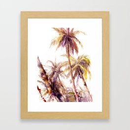 Palm Trees, coconut palms tropical beach palm tree Framed Art Print