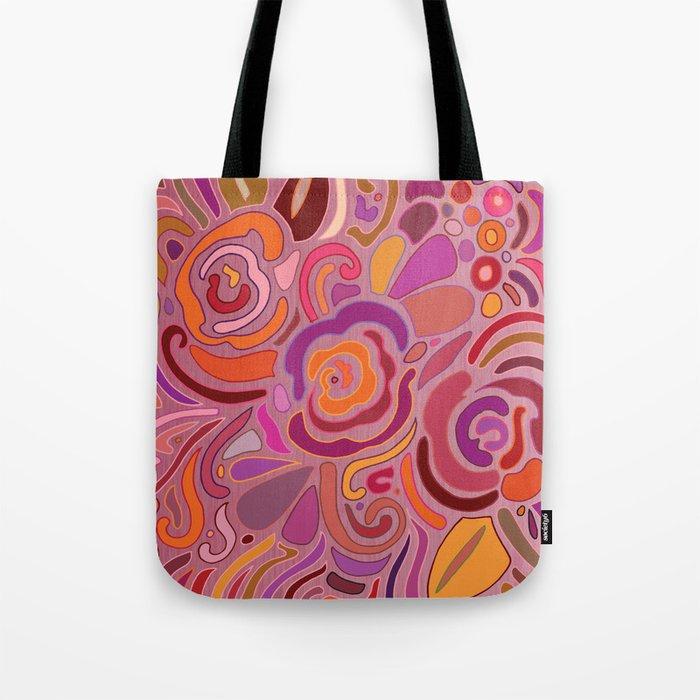 Rose fragments, pink, purple and orange Tote Bag