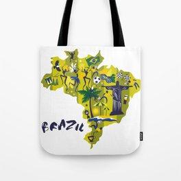 Abstract Brazil Soccer Mural Tote Bag
