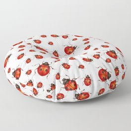 LOVING RED LADY BUGS  ON WHITE COLOR DESIGN ART Floor Pillow