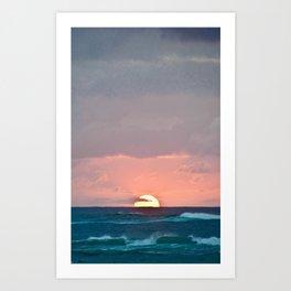 Sunset Waves Art Print
