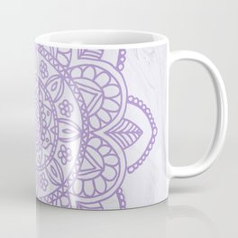 Lavender Mandala on White Marble Coffee Mug