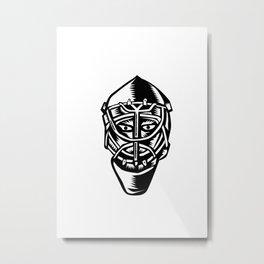 Ice Hockey Goalie Helmet Woodcut Metal Print