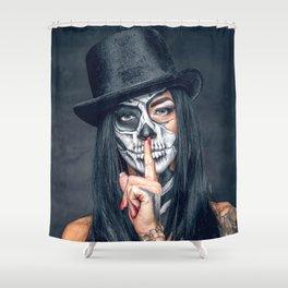 Dia De Los Muertos Day of the Dead Sugar Skull Model Makeup Ultra HD Shower Curtain