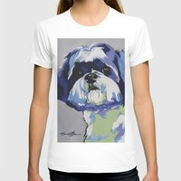 shih tzu T-shirts featuring Shih Tzu Pop Art Pet Portrait by Karren Garces Pet Art