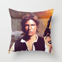 han solo Throw Pillows featuring Han Solo by Cesar Carlevarino