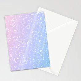 Light blue pink confetti glitter Stationery Cards