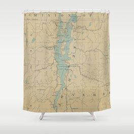 Vintage Lake Champlain Lighthouse Map (1896) Shower Curtain