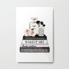 Fashion wall art, Books, Perfume, Roses, Makeup brushes, Blush, pink, Black and white, watercolor Metal Print