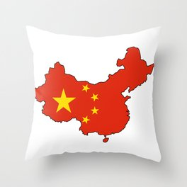Chines Map Flag Throw Pillow