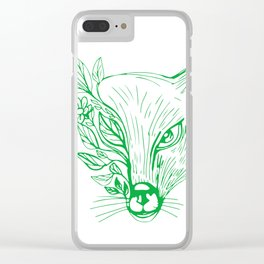 Fox Head With Flower and Leaves Drawing Clear iPhone Case