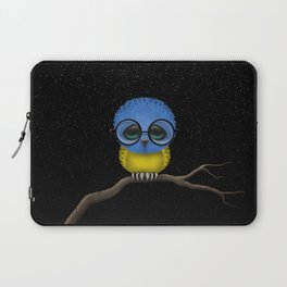 Baby Owl with Glasses and Ukrainian Flag Laptop Sleeve