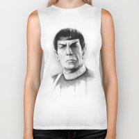 spock Biker Tanks featuring Spock by Olechka