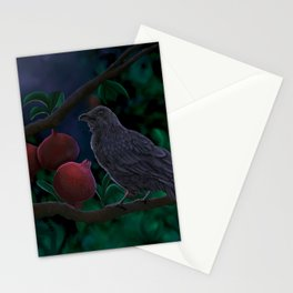 Crow perched on pomegranate tree branch Munin crow of Odin Stationery Cards