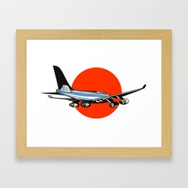 commercial jet plane airliner flying Framed Art Print
