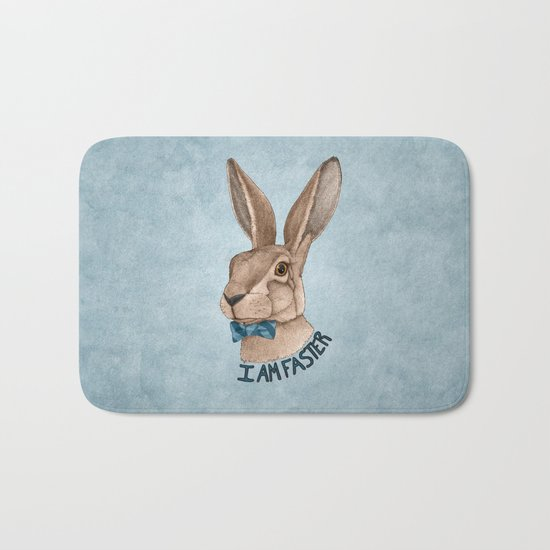 Mr Hare Is Faster Bath Mat