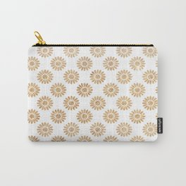 Trendy white faux gold glitter daisies floral pattern Carry-All Pouch