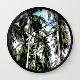 Palm Trees in a Posterised Design Wall Clock