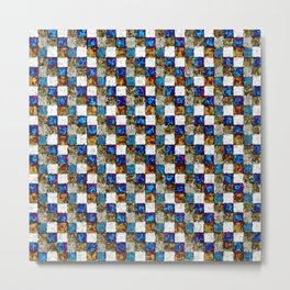 Brown Blue Multicolored Patchwork Metal Print